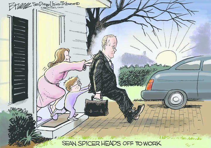 Sean Spicer heads off to work.