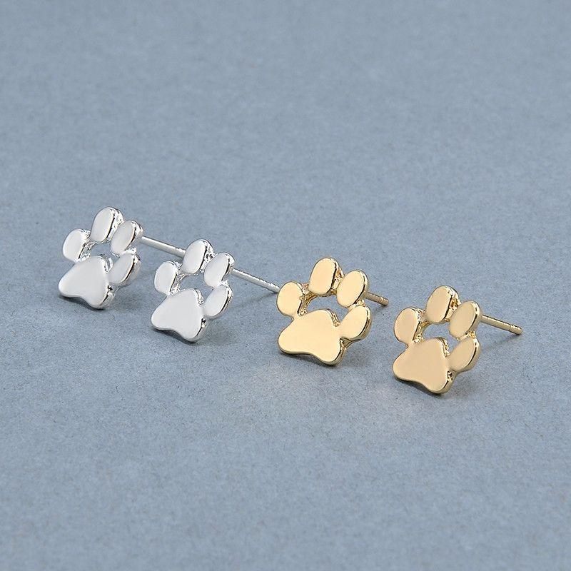 Cute Cat and Dog Paw Print Ear Stud Earrings For Women Girls Fashion Jewelry