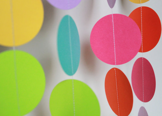 Birthday Party Decor . Paper Garland Bright Rainbow by TeroDesigns, $5.00