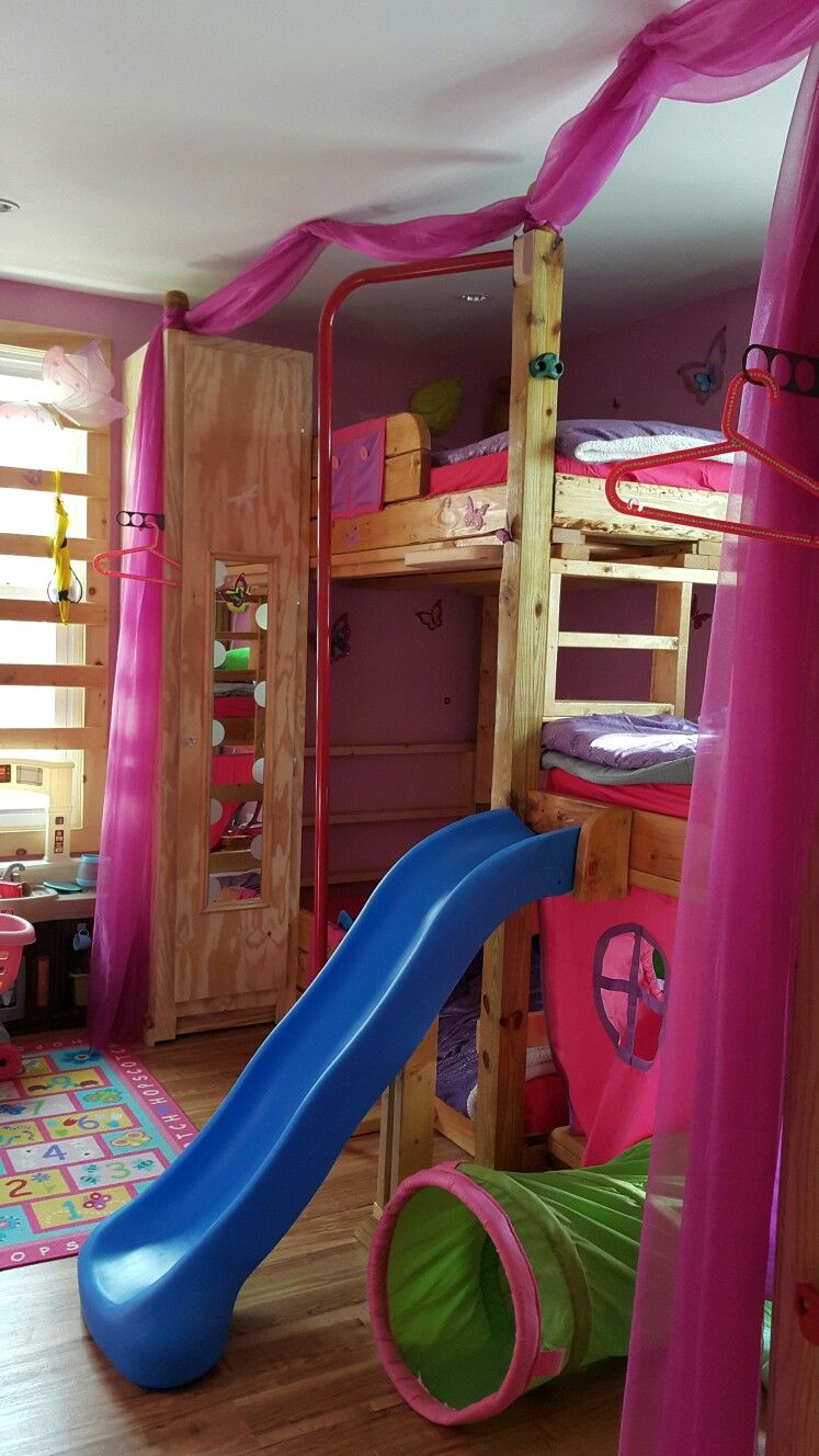 Kids Custom Made Tripple Bunk Bed With Slide Monkey Bars Pole And