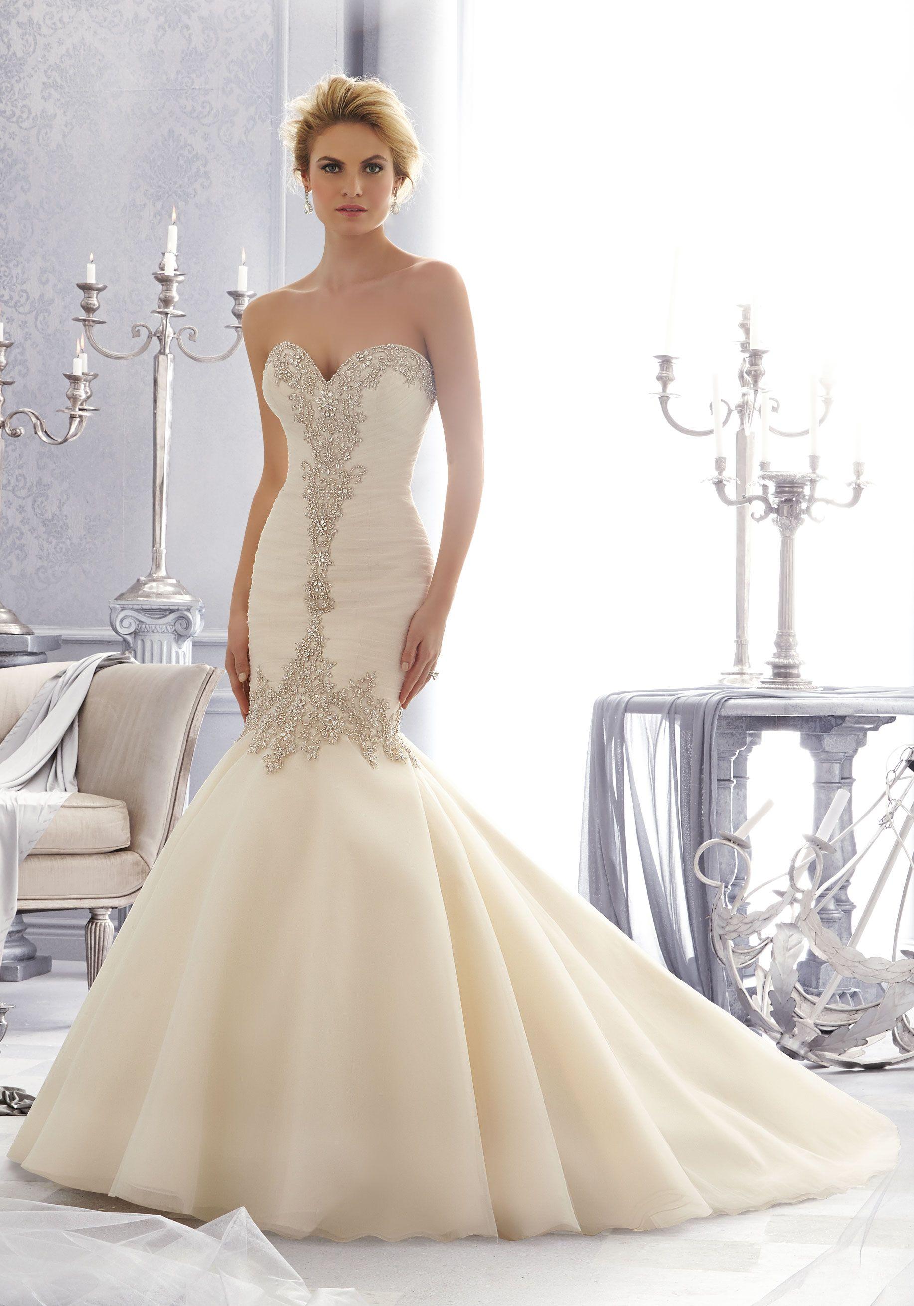 e3ccd8e561bc Morilee Bridal Diamante Beaded Embroidery on Tulle Bridal Dress
