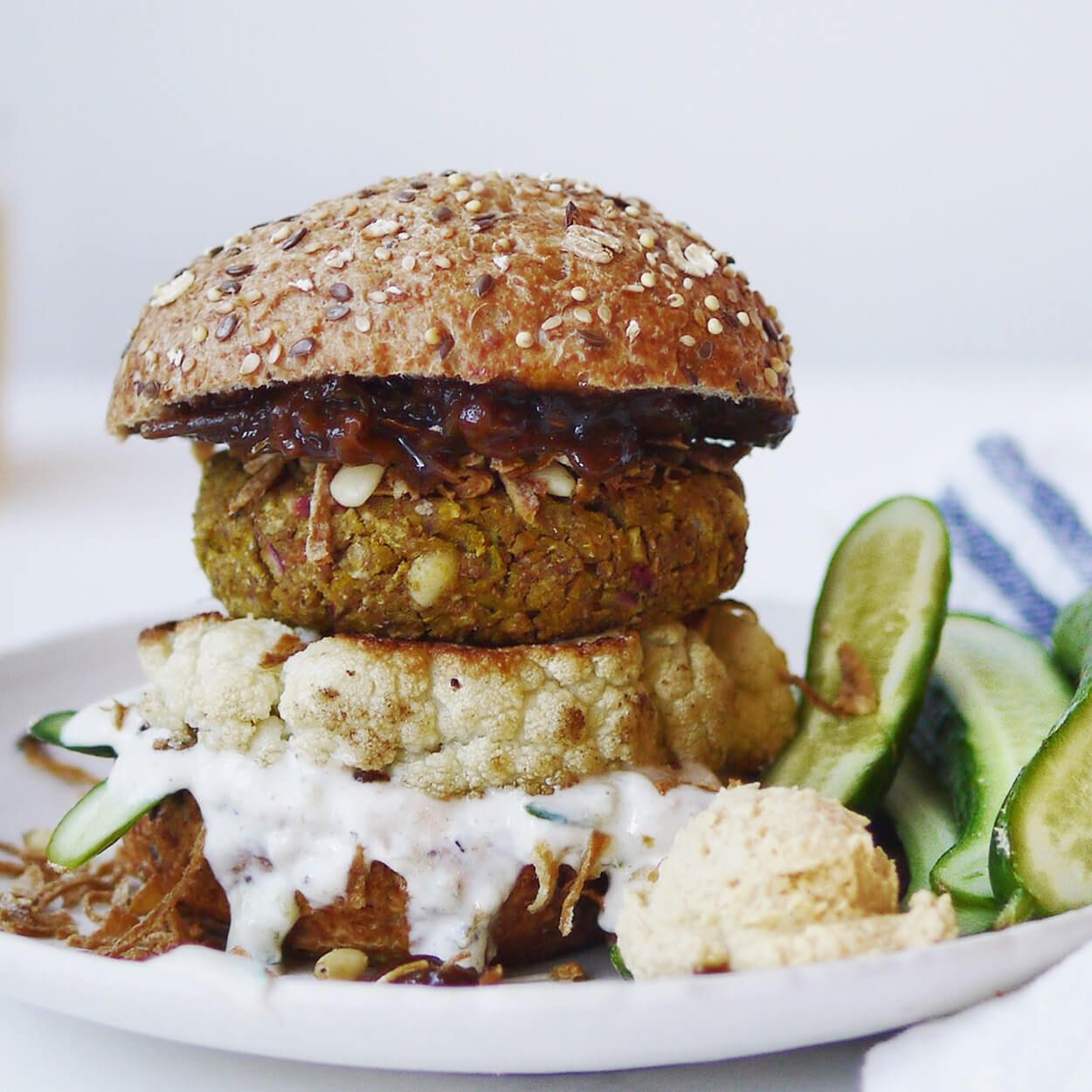 """All-Bran<sup style=""""font-size:70%; line-height:0px;"""">*</sup> Indian-Inspired Chickpea Burgers with Crispy Onions"""