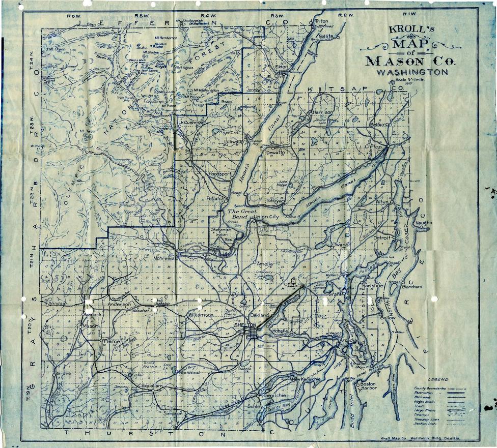 Kroll S Map Of Mason Co Washington 1917 Beautiful Maps From
