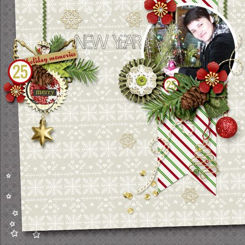 "Digital Scrapbook Inspirational Layout for Christmas made with ""A Little Sparkle"" kit on Sahin Designs, Layout by Marina"