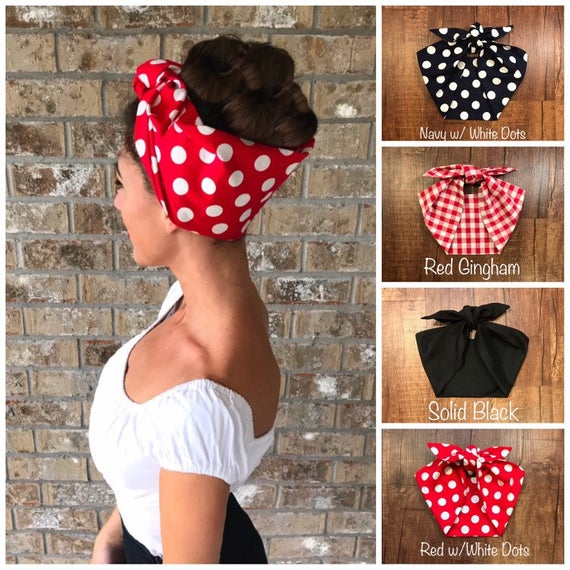 Extra Wide Miranda Retro Hair Wrap Head Scarf Self Tie Headband Rosie the Riveter 1950s 1940s Rockabilly PinUp Vintage Adult
