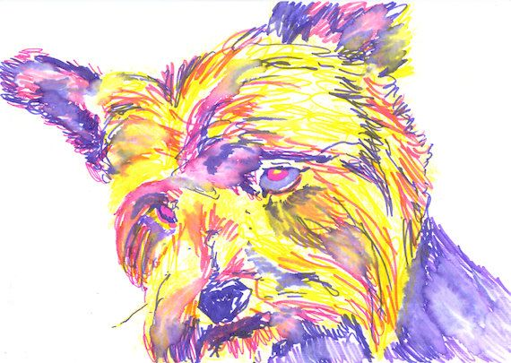 Yorkie Art Dog Yorkshire Terrier Painting Poster Print Signed Purple ...