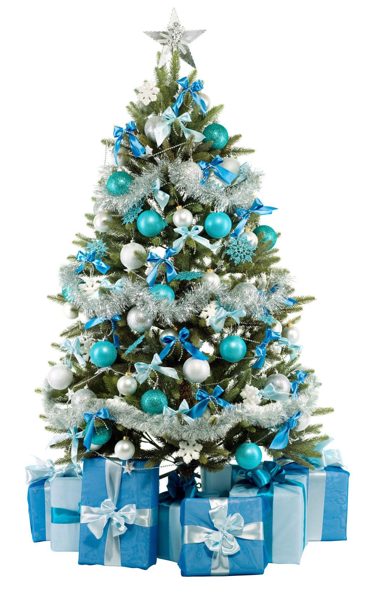 Decorar un rbol de navidad verde en tonos azules - Decoracion arboles navidenos ...