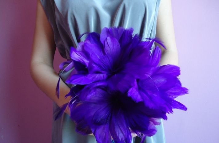 different idea:  feather bridesmaid bouquet