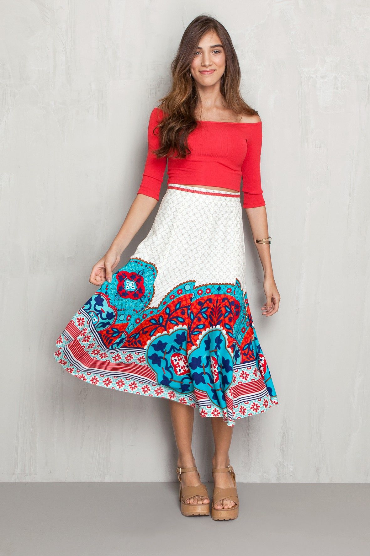 4158af4f1652 Saia midi gode estampada marselha - Saias | Dress to | Roupas ...