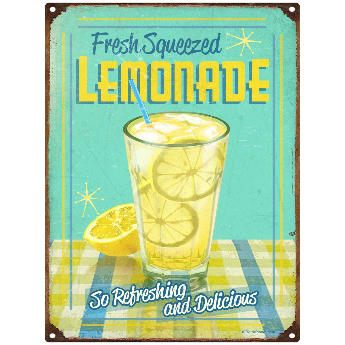 Fresh Squeezed Lemonade Metal Kitchen Sign 12 x 16 | Vintage diner ...