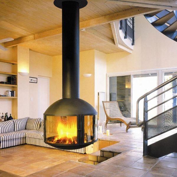 Round Floating Fireplace Cheminee Suspendue Modeles De Cheminee