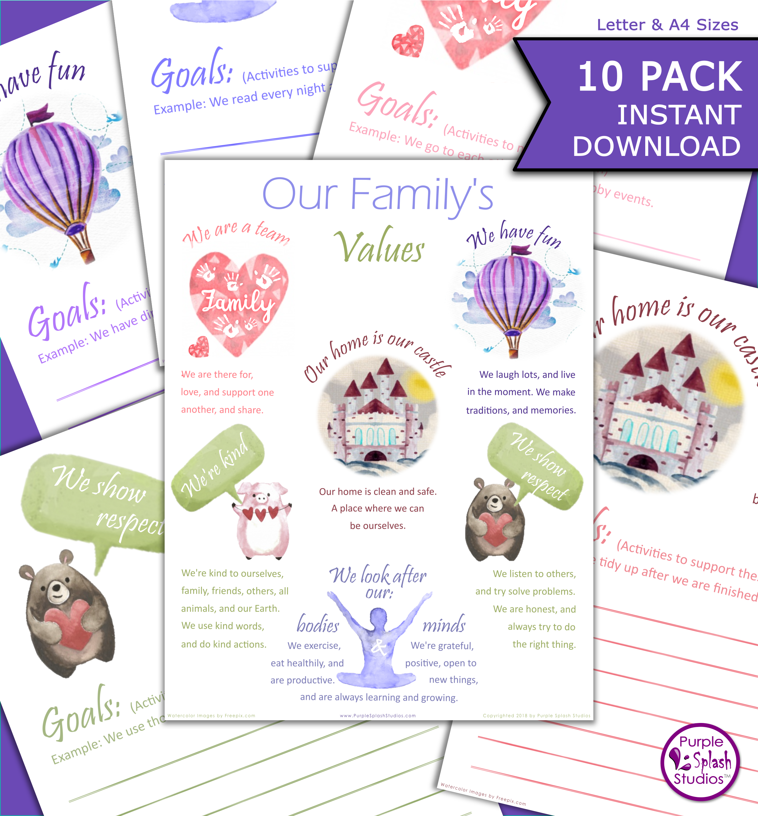 This Family Values Poster And Goal Worksheet Printable