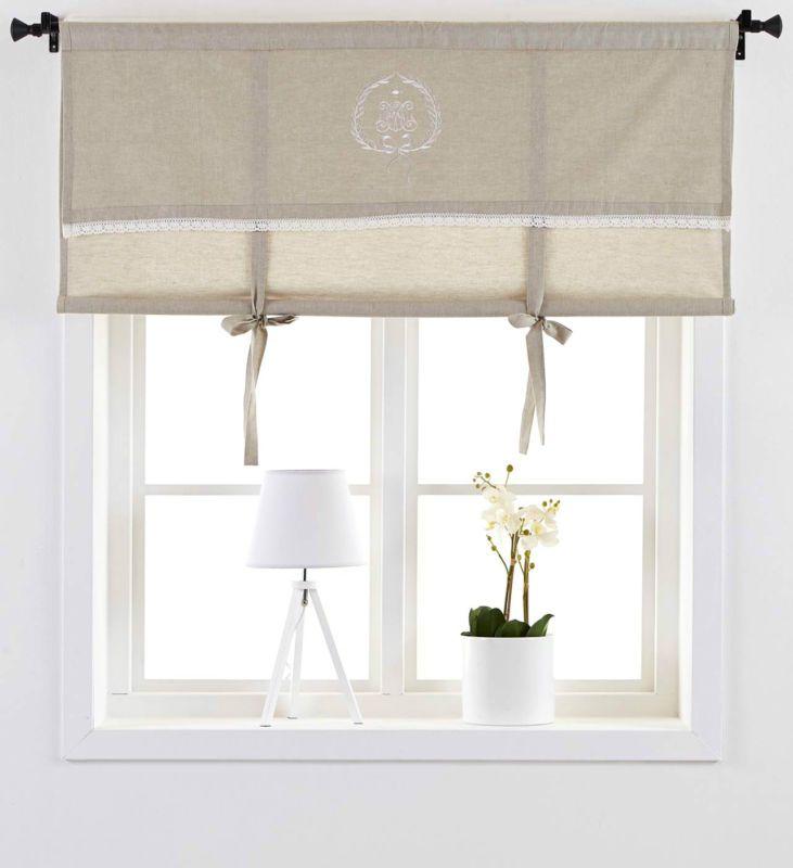 neu raff rollo emmy landhausstil gardine 140 x100 cm braun monogramm shabby diy pinterest. Black Bedroom Furniture Sets. Home Design Ideas