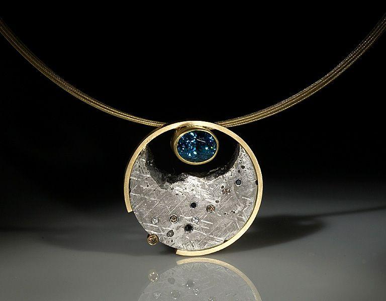 Jacob albee blue moon pendant in gibeon meteorite and 18k gold with jacob albee blue moon pendant in gibeon meteorite and 18k gold with a 483ct aloadofball Images