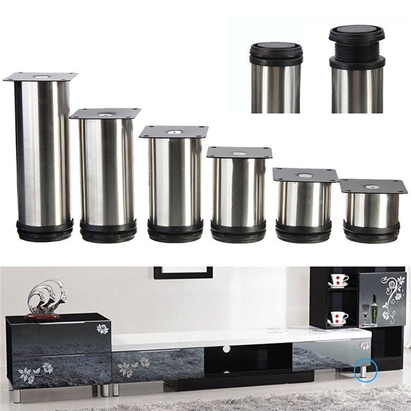 4 pcs cabinet en métal jambes réglable en acier inoxydable cuisine