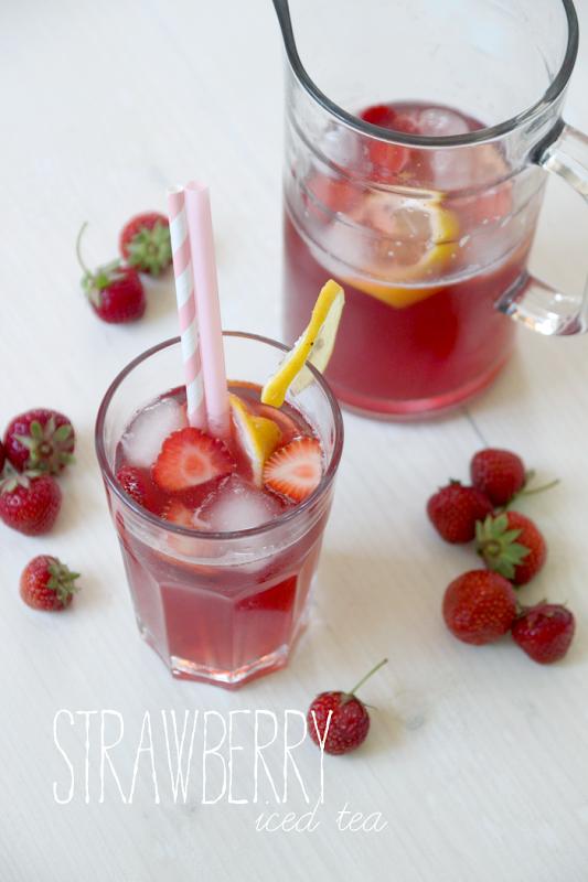 strawberry iced tea recipe erdbeeren eistee erdbeeren und tee. Black Bedroom Furniture Sets. Home Design Ideas