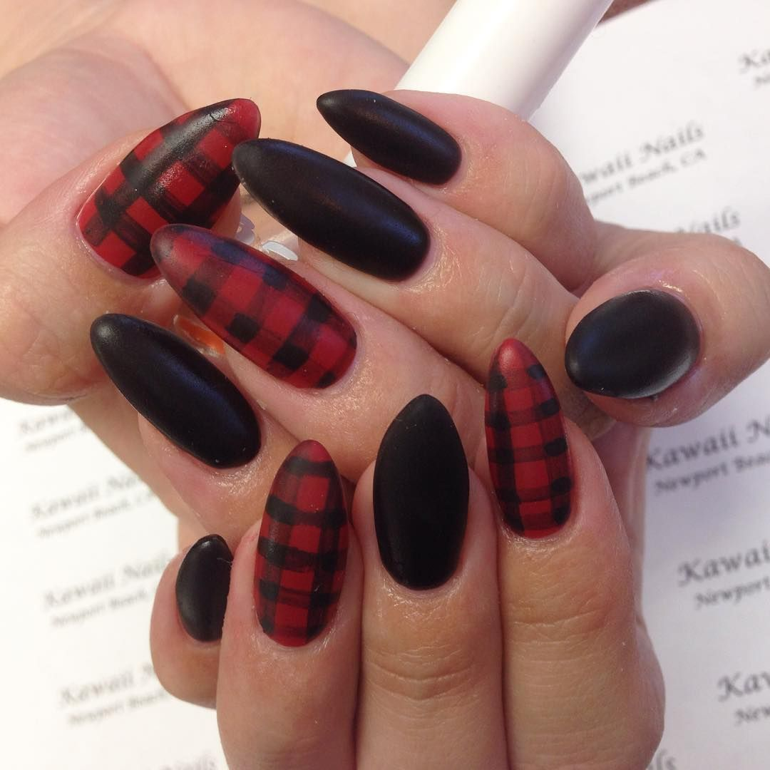 Matte Black And Red Plaid Cal Gel Stiletto Nails By Mika