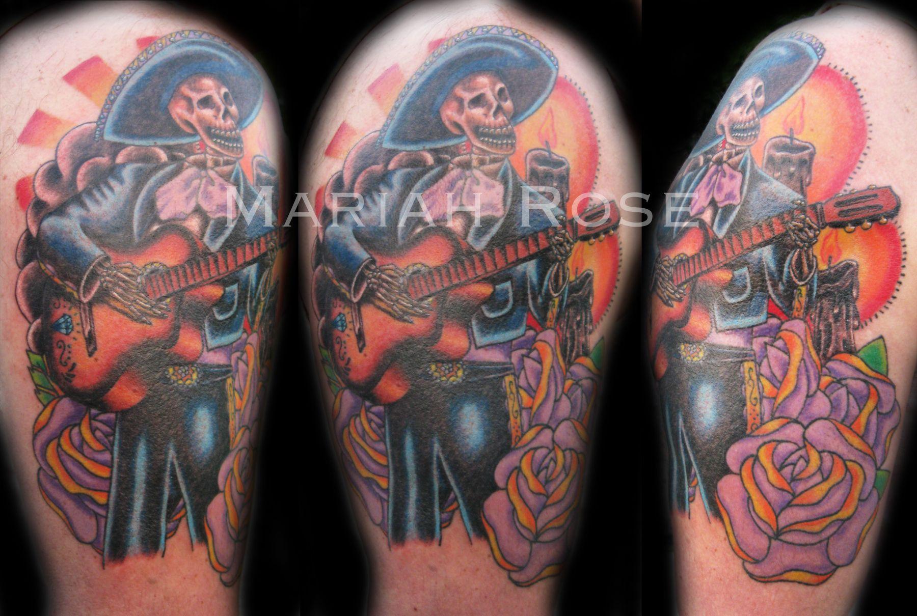 Dia de los muertos mariachi tattoo art tattoos for Dia de muertos tattoos