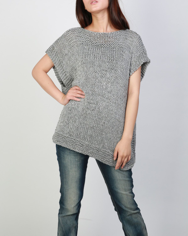 Hand knit Tunic sweater grey eco cotton woman sweater от MaxMelody ...
