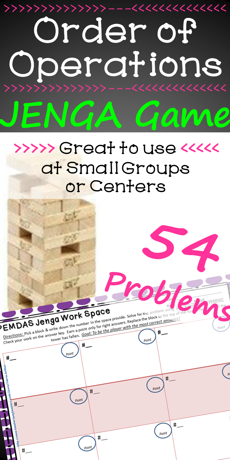 Order of Operations Game PEMDAS Jenga | Math Centers and