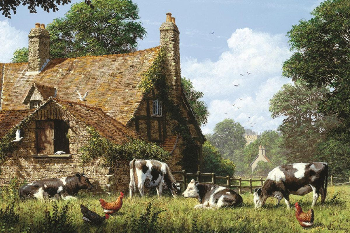 Cows at a Farm | Cow, Farm, 1500 piece jigsaw puzzles