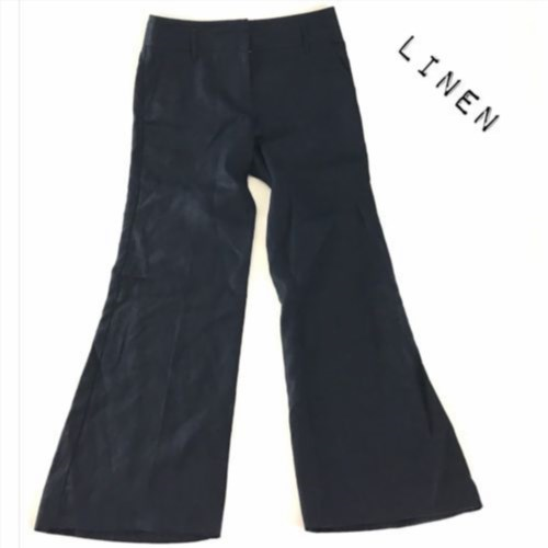 15.79$  Buy now - http://vitms.justgood.pw/vig/item.php?t=6xmav4d1038 - Navy Blue 100% Linen Women's Casual Pants Size 4 15.79$