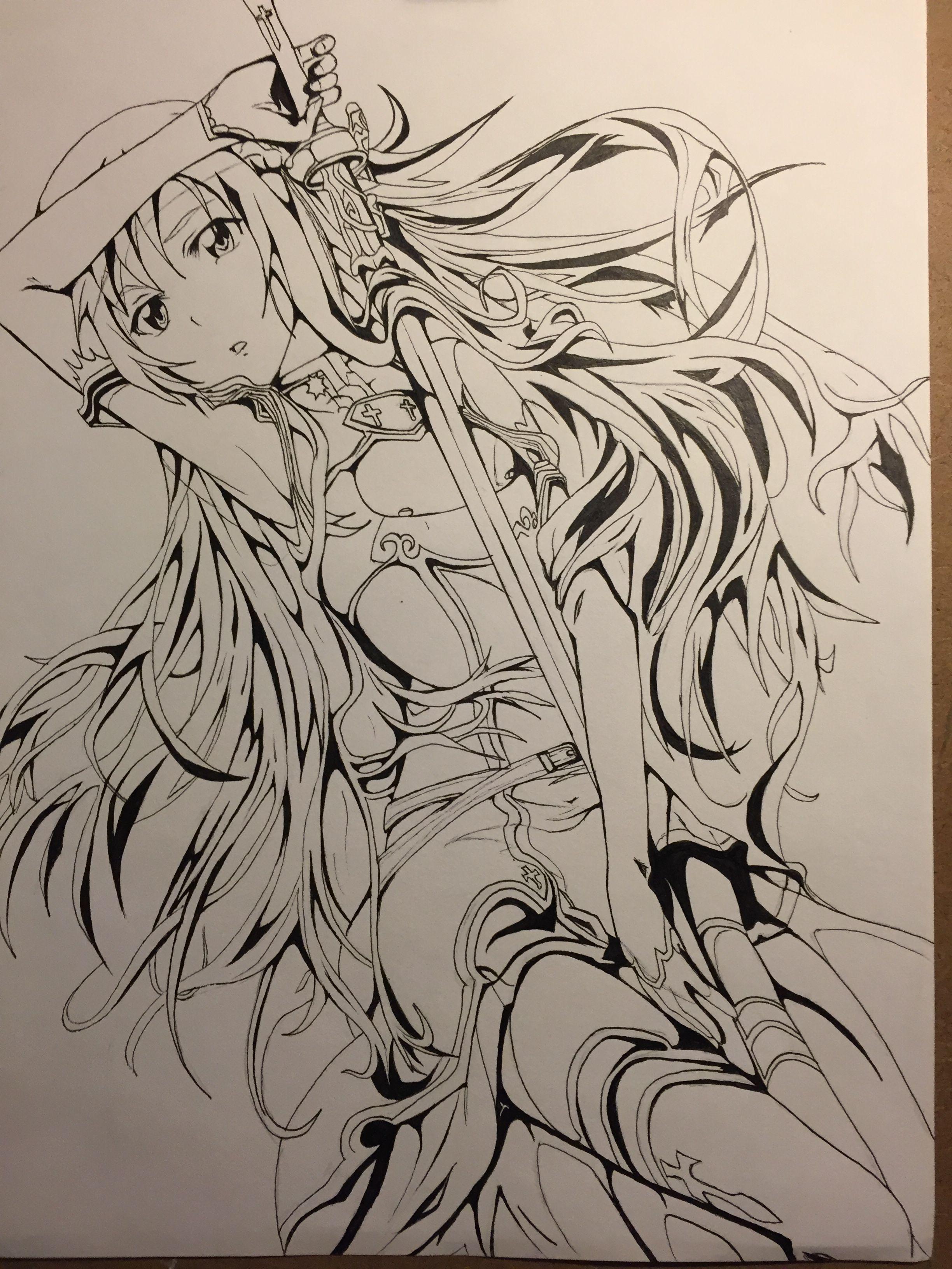 Asuna pen drawing asuna sao anime drawing
