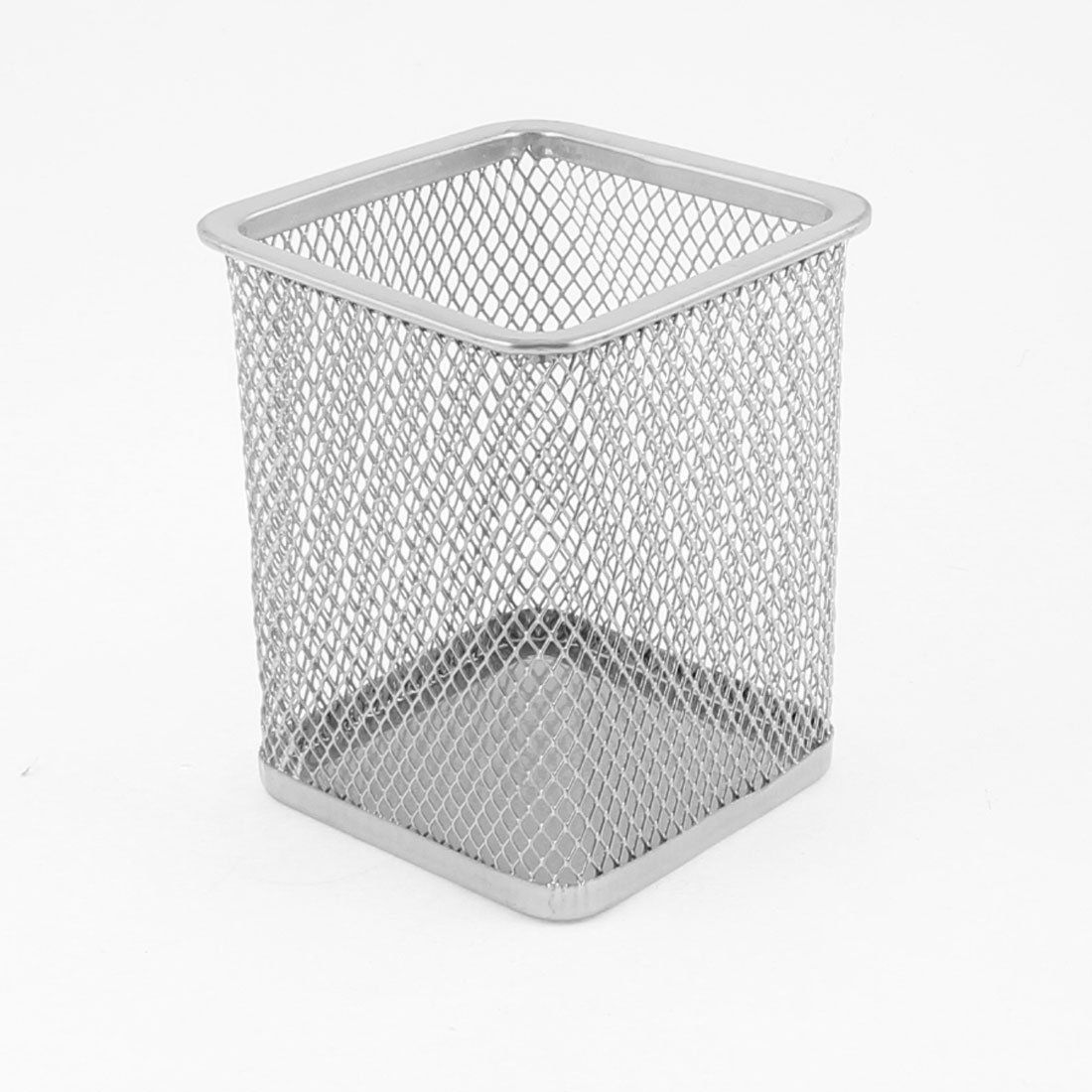 Silver Gray Metal Mesh Rectangle Shaped Pen Pencil Holder Container ...