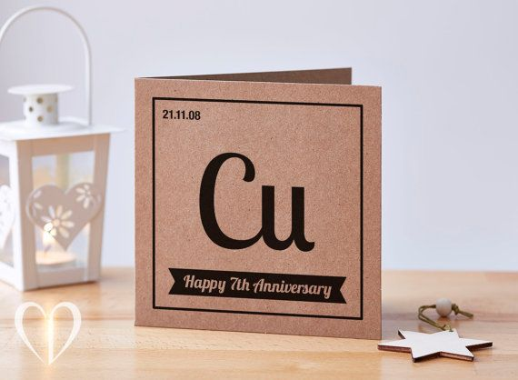 Personalised 7 year anniversary card 7th anniversary card copper