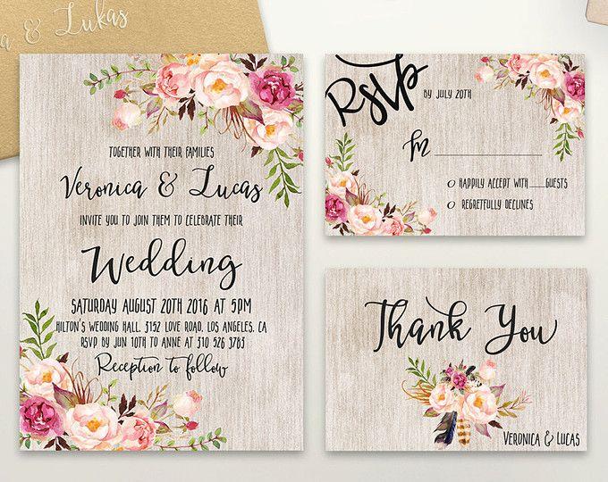 Floral Wedding Invitation Printable Rustic Wedding Invitation Suite Boho  Chic Wedding Invite Spring Wedding Invite Set DIY Wedding