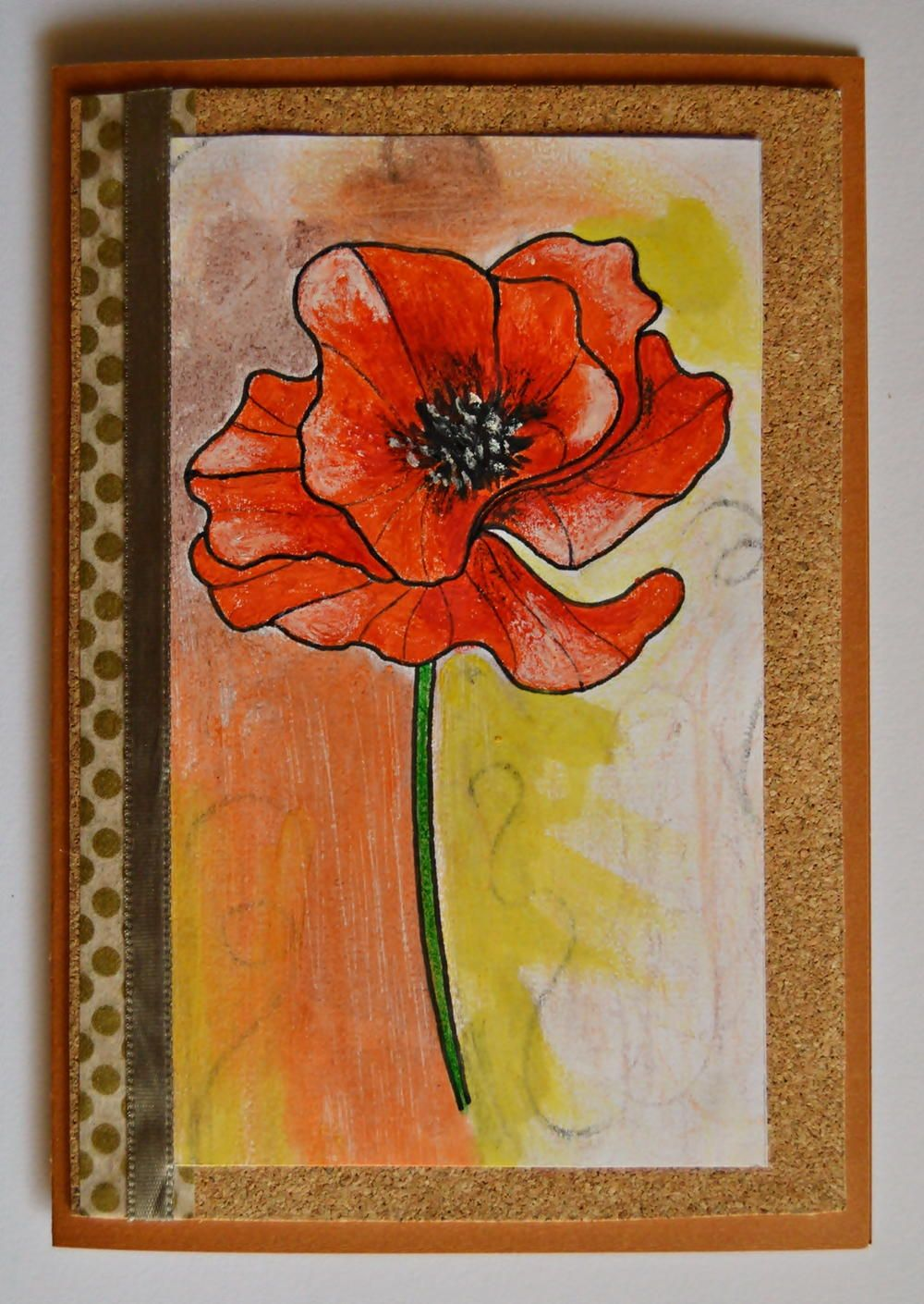 Rustic Red Poppy Handmade Card   Adult coloring, Poppy flowers and Cards