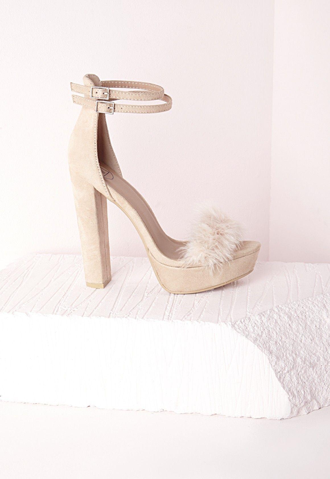 622fc9eff Fur Trim 70's Platform Sandals Cream - Shoes - High Heels - Missguided