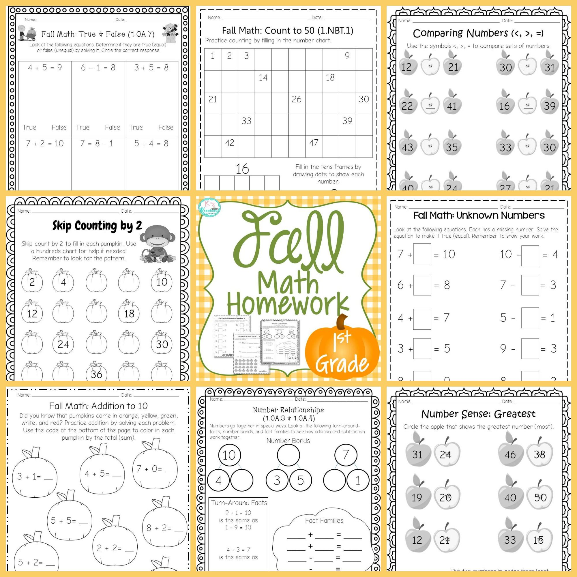 1st Grade Fall Math Homework Worksheets