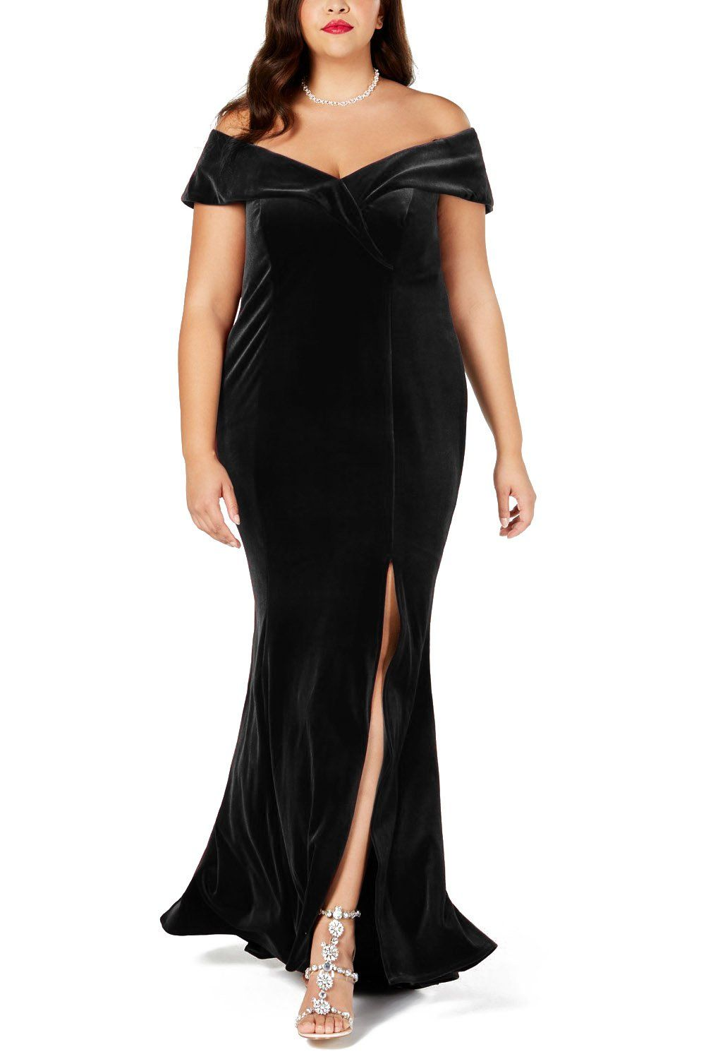 7f408f1cb2b Black Plus Size Off-The-Shoulder Velvet Gown in 2019