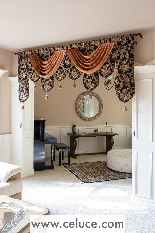 Royal Black Palace Pelmet Style 95 W Elegant Curtains Curtains Curtain Decor