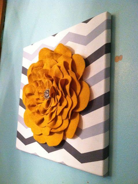 Felt Flower On Canvas Felt Flowers Felt Flowers Diy Felt Crafts