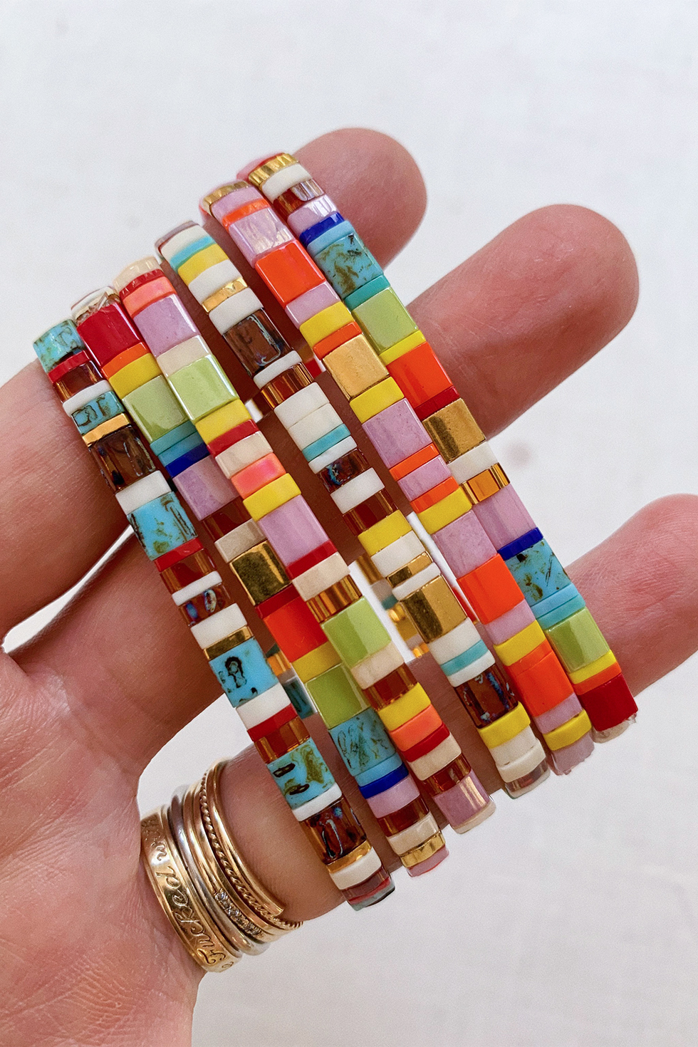 Miyuki bracelet 24k gold plated beads white golden friendship for women,stacking bracelet,handmade,jewelry,boho,bohemian,minimalist,unique