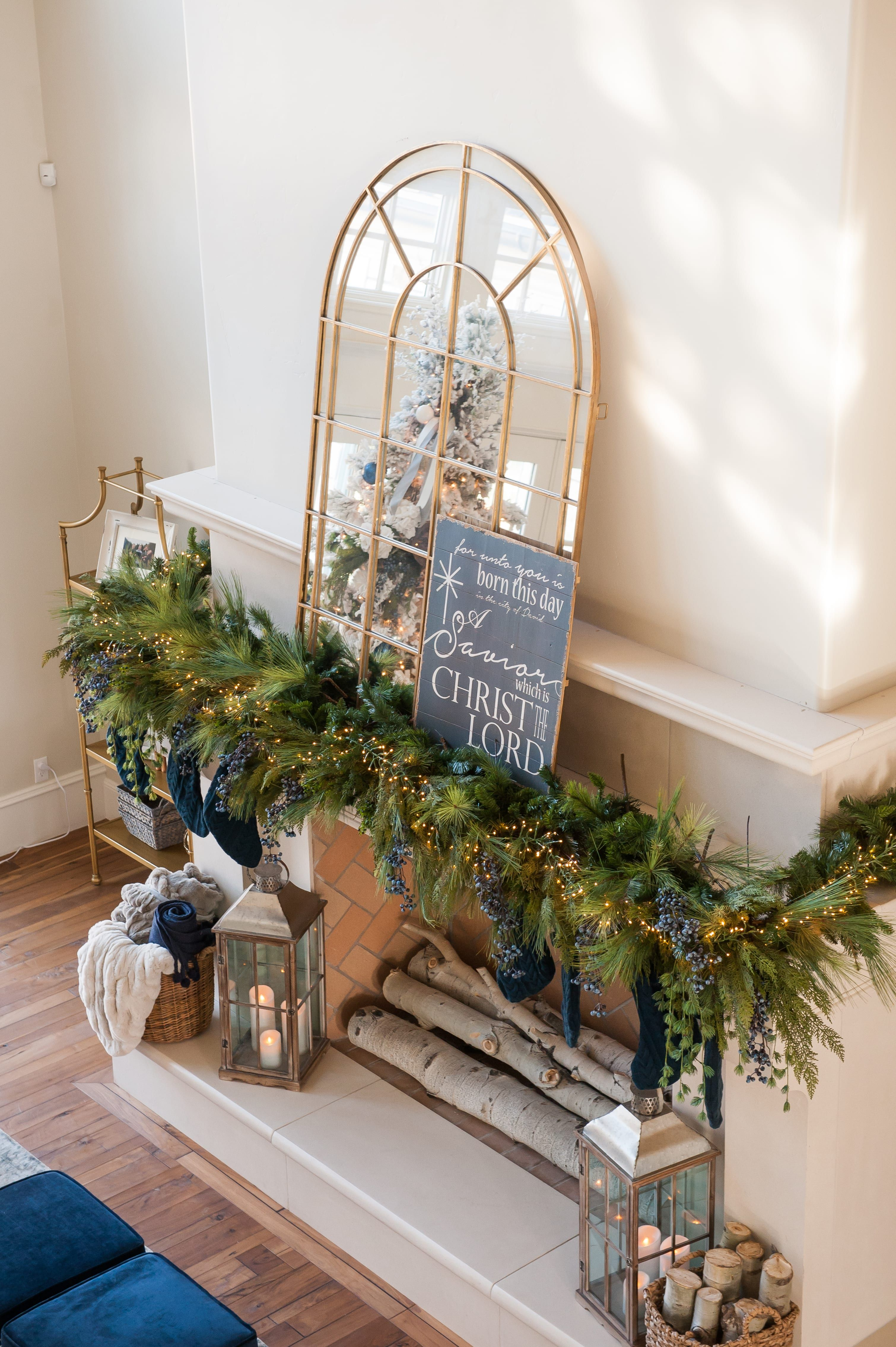 Christmas Home Tour 2017 A Blue, Ivory, and Green