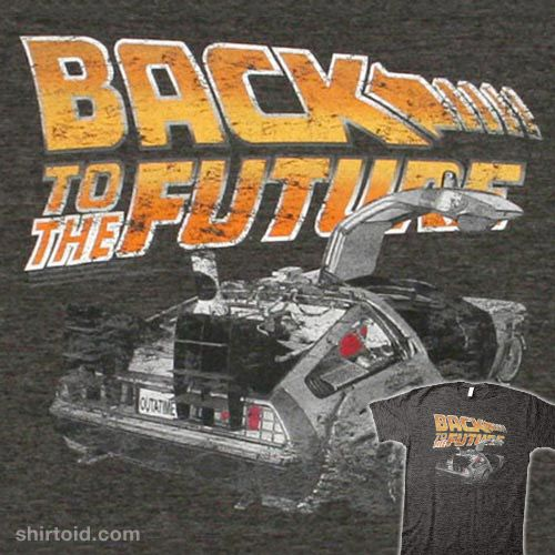 This Back To The Future t-shirt features a distressed print of the DeLorean time machine. The movie logo is in the middle of the upper chest with the DeLorean facing away with one of its doors open.