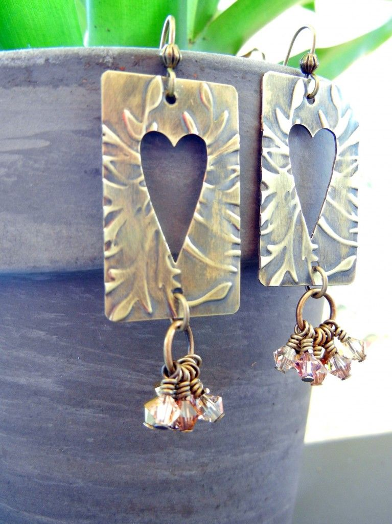 Lightweight brass textured with the new Vintaj BIGkick machine makes lovely earrings!