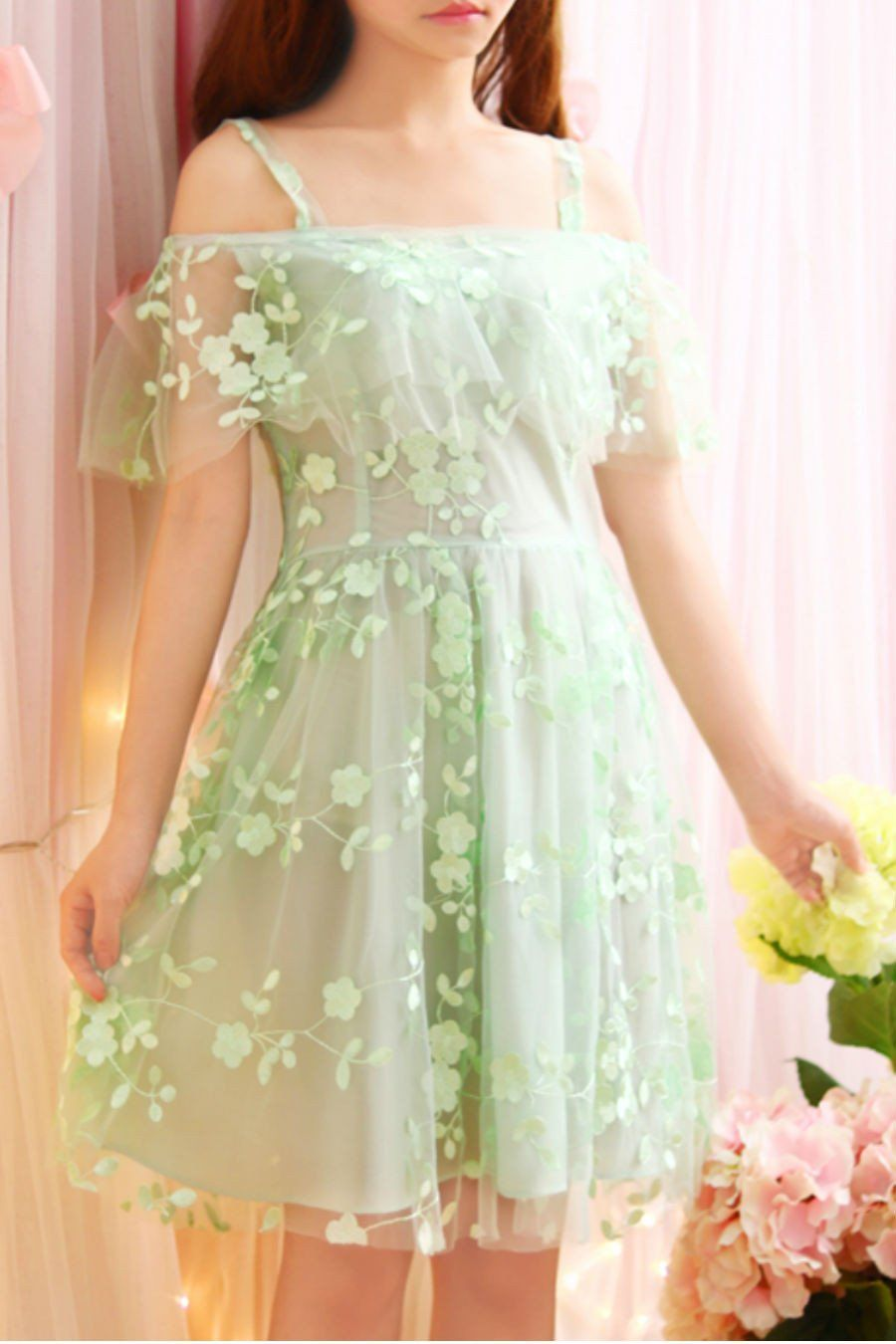 f9f71480a2 Mint Floral Off Shoulder Dress in 2019 | things to get | Dresses ...