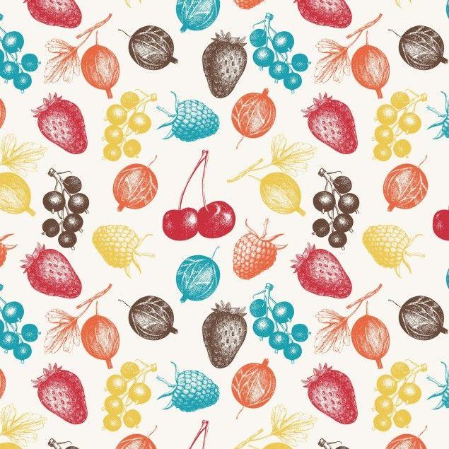 Fancy  Klebefolie Buntes handgezeichnetes K chen Sommerfr chte Muster Selbstklebefolie Sommer