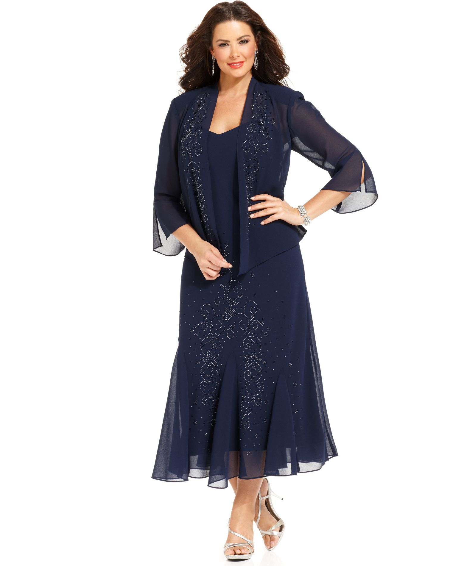 R&M Richards Plus Size Beaded V-Neck Dress and Jacket | Starry ...