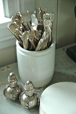 Silver in crockery...lovely salt & pepper set.