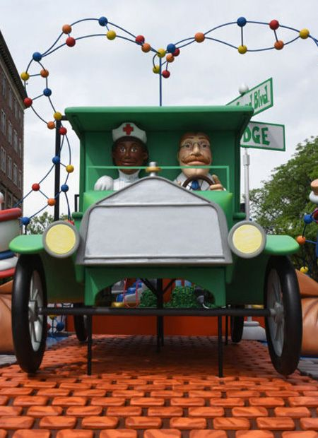 Henry Ford Health System celebrated its 100th anniversary by unveiling its first-ever parade float at Henry Ford Hospital.