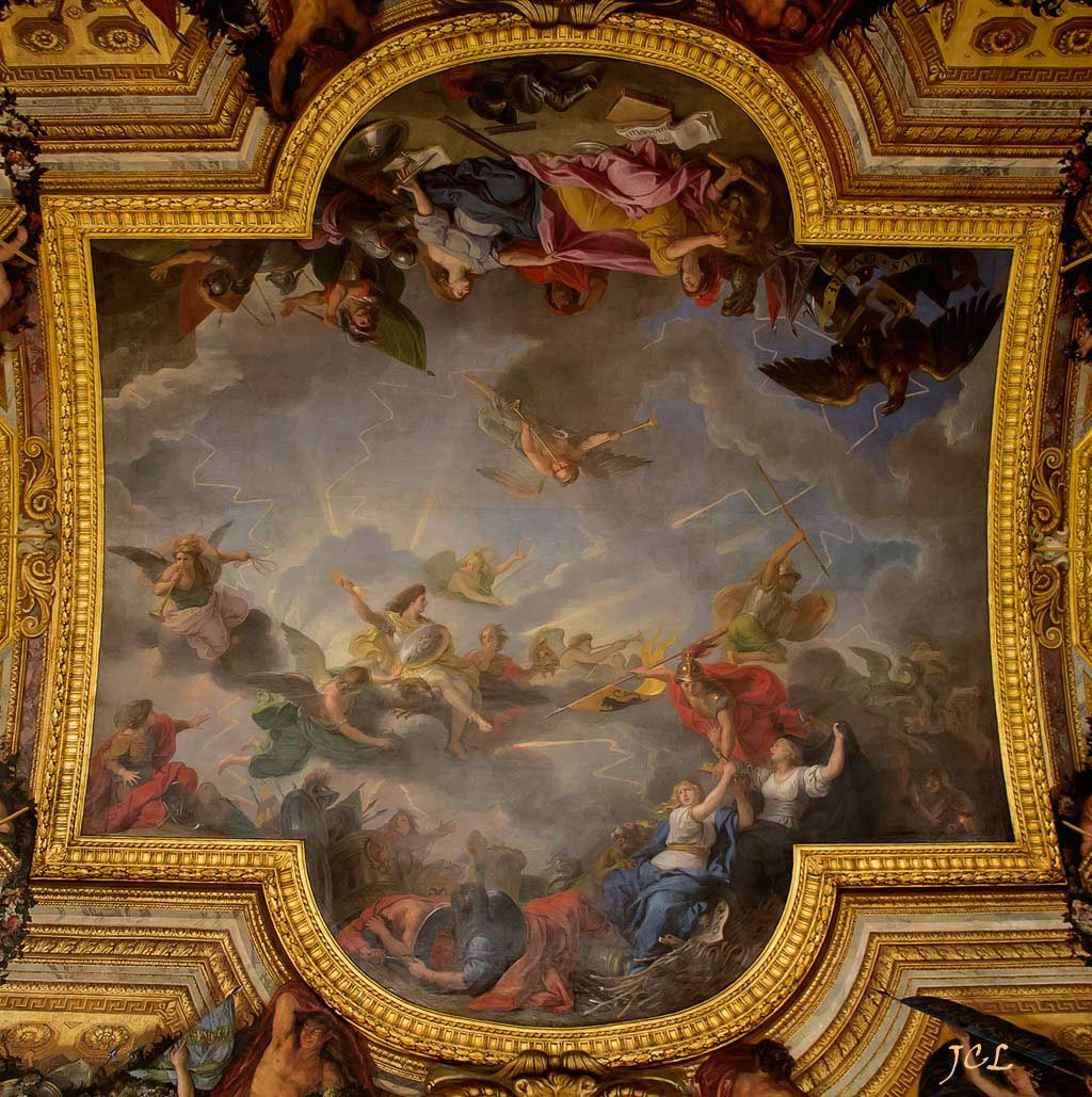 peintures de charles le brun du plafond de la galerie des glaces du ch teau de versailles mode. Black Bedroom Furniture Sets. Home Design Ideas