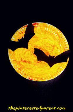 Paper Plate Bats Silhouette - Halloween Kidu0027s Crafts  sc 1 st  Pinterest & Halloween Paper Plate Silhouette Crafts | Bat silhouette Bats and ...