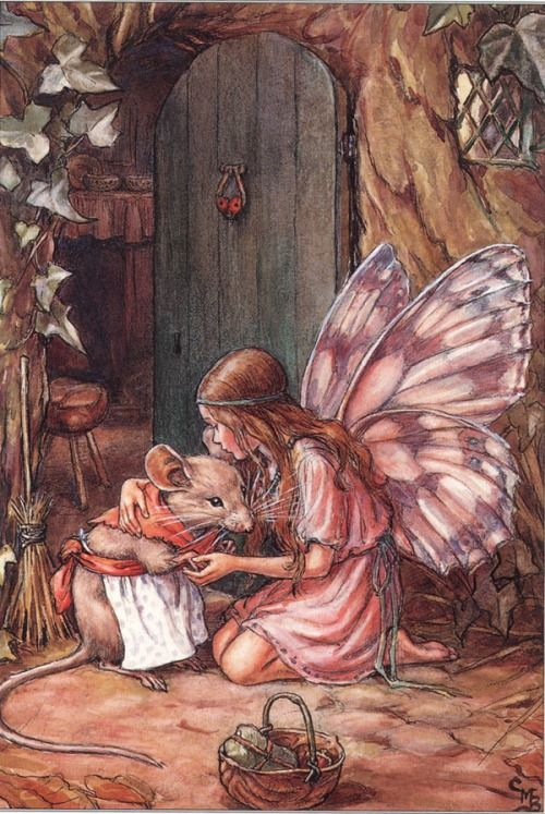 ≍ Nature's Fairy Nymphs ≍ magical elves, sprites, pixies and winged woodland faeries - Cicely Mary Barker | Angel in the Garden
