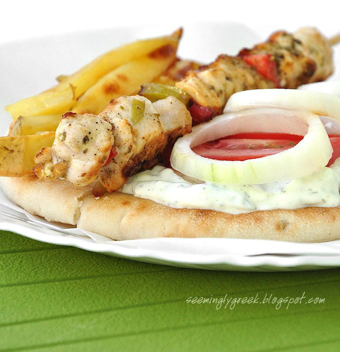 Chicken Souvlaki with a Lemon Oregano Marinade