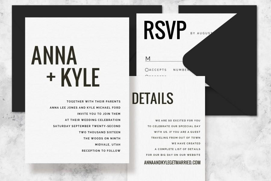 Modern Minimalist Printable Wedding Invitation Set